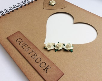 wedding guest book, rustic vintage style guestbook, guest sign in book, photo booth photo album scrapbook, country wedding gift for couple