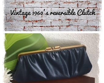 Vintage Reversible Maroon/Navy Blue Leather Clutch with gold hardware circa 1960's