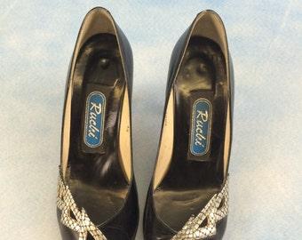 Vintage 1980s  Black and silver Lightening Peeptoe Court Shoes uk4.5