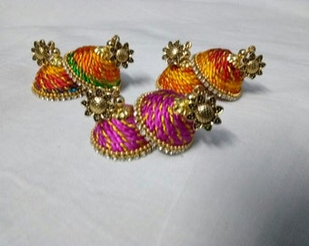 Twisted silk thread jhumkas with Antique stud - Beautifully made
