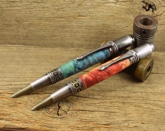 Antique Gun Metal And Brass Art Deco Ballpoint Pen - Available In 6 Colors