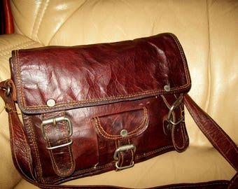 Small handmade real leather crossbody bag