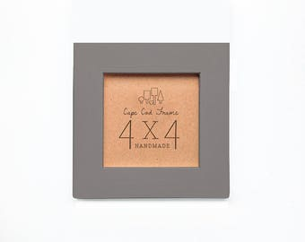 4x4 Picture Frame - Stone - Frame for 4x4 Tiles, Instagram Prints or Needlework. Solid Wood Frame.