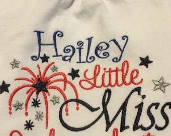 Little Miss Indendent personalized red, white, and blue top for the little independent girl.