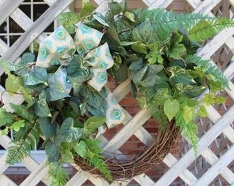 Summer Wreath, Everyday Wreath, Front Door Wreath, Greenery Wreath with Bow, Fern Wreath, Grapevine Wreath, Door Wreath