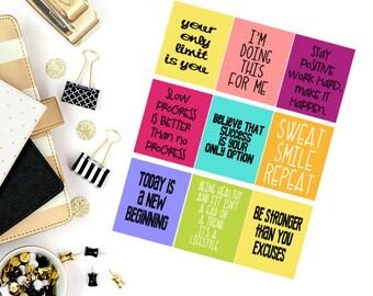 Fitness #2 Quotes Stickers! Perfect for your Erin Condren Life Planner, calendar, Paper Plum, Filofax!