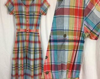 Comfy 80's Plaid Shirtwaist Dress / Vintage 1980's Dress with Pockets
