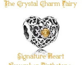 European Charm Silver SIGNATURE HEART with TOPAZ Crystal Center November Birthstone Fits Large Hole / Pandora / European  Bracelets