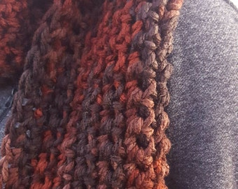 Brown Orange Chunky Scarf - Brown Extra Long Ribbed Scarf - Orange Acrylic Winter Scarf - Orange Oversized Crochet Scarf - Brown Knit Scarf