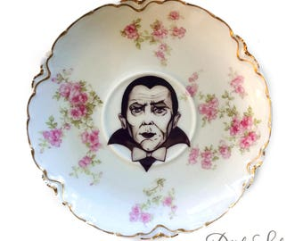 Vintage - Illustrated - Dracula - Bela Lugosi   Saucer Plate -  Altered Plate - Antique - Upcycled - Horror - Monsters - Vampire