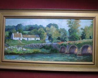 Oil Painting, Inistioge, Ireland, Thatched Cottage, Sheep, Bridge