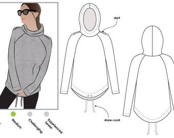 PRINTSHOP ONLY (not tiled) - Josie Hoodie // Sizes 14, 16 & 18 // Style Arc PDF Women's Sewing Pattern
