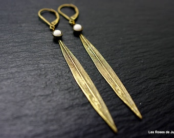 Art deco leaf earrings