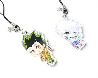 Gon, Killua - (Hunter x Hunter) Hand-Drawn Double Sided Front & Back Anime Acrylic Charms with Phone Strap