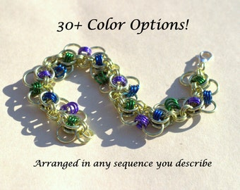Customizable Fly Tying Chainmail Bracelet, chainmaille jewelry, chainmaille bracelet, custom jewelry, made to order jewelry