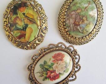 Set Of Three Vintage Brooch