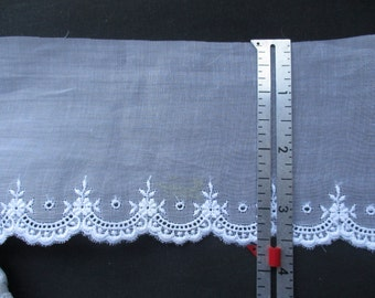 Swiss Embroidery Edging  on Organdy in White