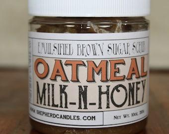 Brown Sugar Scrub, Oatmeal Milk & Honey, Emulsified Sugar Scrub, Body Scrub, Scrubs, Goat Milk