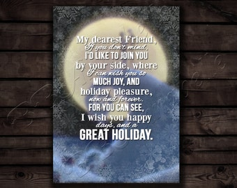 Nightmare Before Christmas Holiday Card// My Dearest Friend// Digital File Instant Download