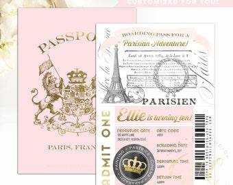 Passport to Paris Birthday invitation - blush pink gold vintage - boarding pass - 5th, 6th, 7th, 8th, 9th, 10th, 11th birthday- Gibb Co D013