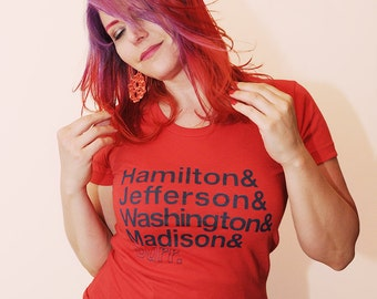 Founding Fathers Ampersand.  Women's fitted tshirt, sizes small, medium, large, and XL.