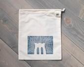 Reusable produce bag, Farmers market bag, Brooklyn Bridge print, Travel organizer, Reusable gift bag, Block print pouch, Organic cotton