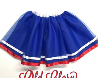 Girls blue tulle skirt, girls patriotic skirt, girls red white and blue tulle skirt, girls blue red  and white shirt
