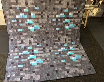 Custom Minecraft Diamond Ore Quilt