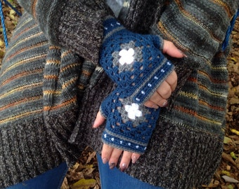 Blue fingerless mittens, Wrist warmers, Fingerless crochet gloves, Women's gloves, Woolen gloves, Handmade gloves, Winter gloves,