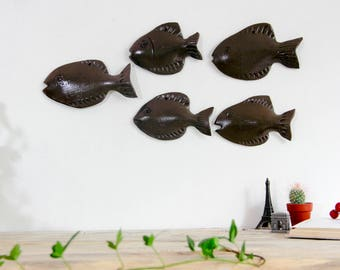 Set of 5 Wall decor fish school sculpture Ocean nautical Hanging Art Kitchen Coastal Living Room bathroom Lake house Decoration Fathers day