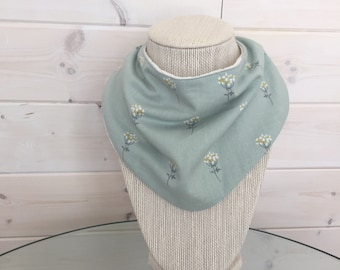 Baby Bib - Drool Bib - Organic Cotton/Bamboo Terry - sage mini flower