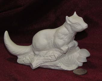 Ceramic Bisque U-Paint Chipmunk On A Log Unpainted Ready To Paint DIY Wildlife