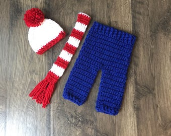 Where's Waldo Inspired NB Baby Boy Outfit Pants, Hat, Scarf Set Prop/Costume Handmade Crocheted Ready To Ship Made in the USA