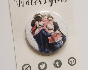 One Direction hug ///BUTTON with watercolor painting