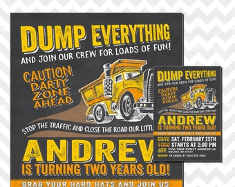 Construction Birthday Invitation, Dump Truck Birthday Invitation, Dump Everything Birthday Invitation, Construction Birthday Paty, Caution