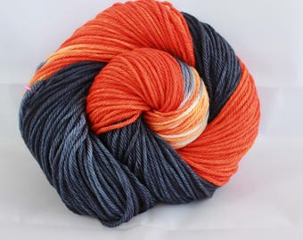 NQP: Hand dyed yarn, orange / blue yarn, superwash merino,  worsted weight, 100g