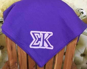 Sigma Kappa sweatshirt sorority throw blanket - sigma kappa stadium purple blanket
