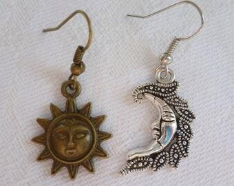 Sun and moon earrings,sun and moon jewellery,wiccan jewelry,sun earrings,moon earrings,gift,pagan jewelry,mixed metal,handmade,celestial.