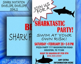Shark Party, Shark Invitation, Shark Birthday Invitation, Shark Printable Invitation, Shark Birthday Invitation, Fish Party, Jaws Party