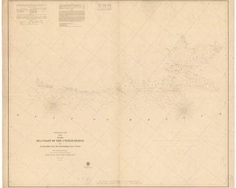 Galveston Bay to Matagorda Bay Historical Map 1857
