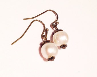 REAL natural semi-white pearl earrings with bronze accents