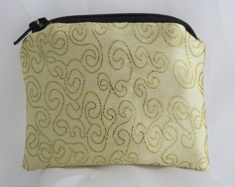 Small Gold Swirl and Black Brocade and Satin Coinpurse Coin Purse Pendulum Crystals Zipper Bag Pouch Fancy