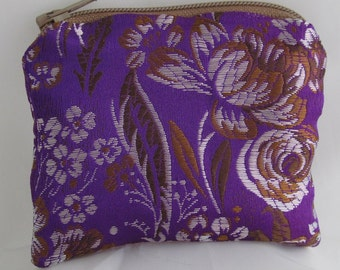 Small Purple, Brown, White and Lavender Brocade and Satin Coinpurse Coin Purse Pendulum Crystals Zipper Bag Pouch Fancy