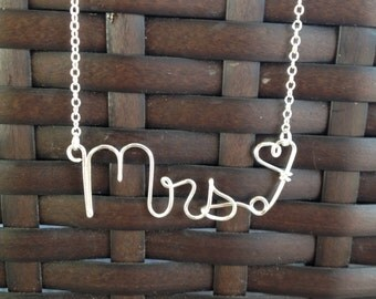 Mrs. Necklace for the bride newly married couple handmade silver