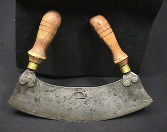 Antique Two Handled Curved Blade Dated 1895 I believe some kind of Butchers Knife, and Signed