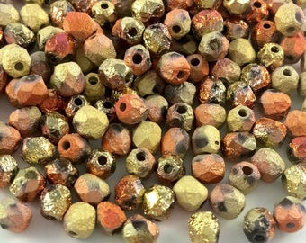 100 pcs 4mm Faceted Round Fire Polished Beads, Etched Crystal California Gold Rush