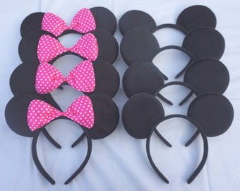 Set Of 30 Hot PInk Minnie Mouse Ears with white Polka dot Bow Ears Headband Great Birthday Party favors Disneyland Trip Mickey Mouse Ears