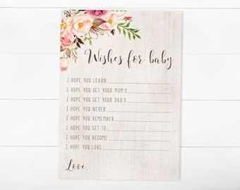 Baby Shower Game, Wishes For Baby, Baby Shower, Watercolor(457)