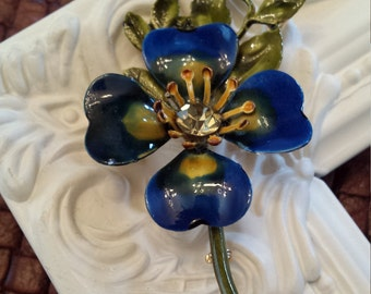 Vintage blue enameled brooch