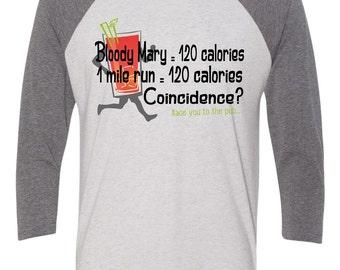 Running and Bloody Mary baseball tee